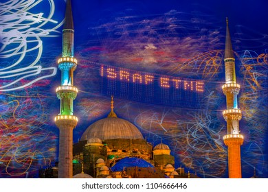 Experimental abstraction with long exposure. Tram lights and vehicle lights on Galata Bridge. Mahya lamps in New Mosque minaret.Write,Do not waste/ Eminonu,Istanbul,Turkey