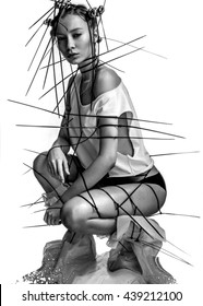 experimental fashion girl on white background