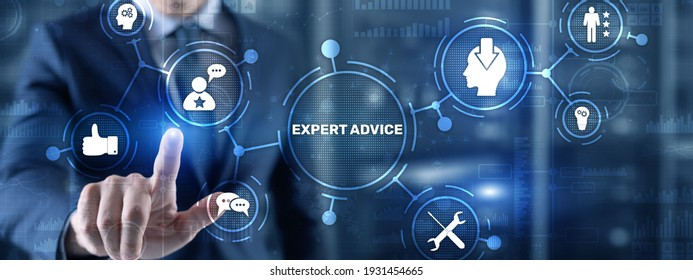 Expert advice. Businessman hand touching inscription on virtual screen