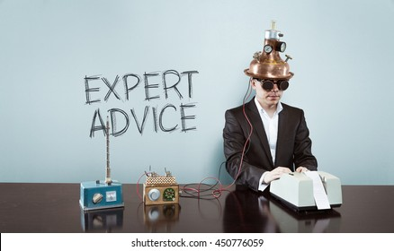 Expert advice concept with vintage businessman and calculator