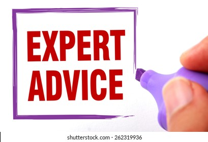 Expert advice text is signed by marker on white paper.