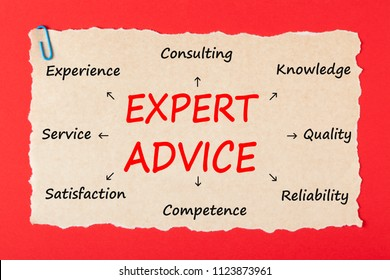 Expert Advice written on old torn paper with paperclip on red background. Business concept.