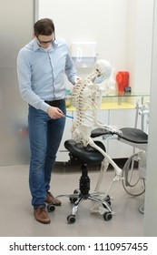 expert analysing  human skeleton model as a dentist  in sitting,leaning position at work - occupational disease concept