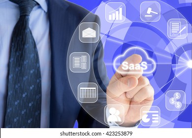IT expert in a blue suit is pressing a glowing cloud symbol with SaaS, Software as a service and icons of services around