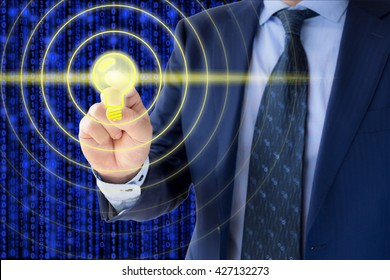 IT expert in a blue suit touches a Lifi symbil which emittes data waves
