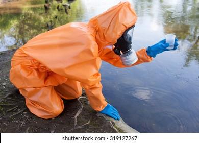 Expert checking radioactivity in water