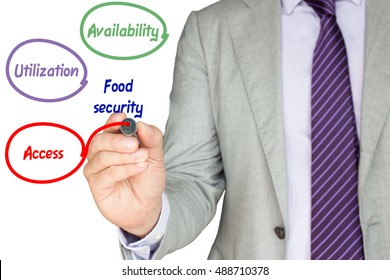 Expert explains the basic pillars of food security by drawing circles with availability,utilization and access on a white background