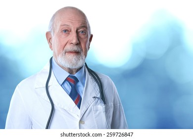 an expert old man doctor on bluish background