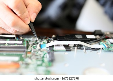Expert is repairing to inner of laptop.   with tweezers. On a typical laptop there are several USB ports, an external monitor port (VGA, DVI, HDMI or Mini DisplayPort), an audio in/out port.