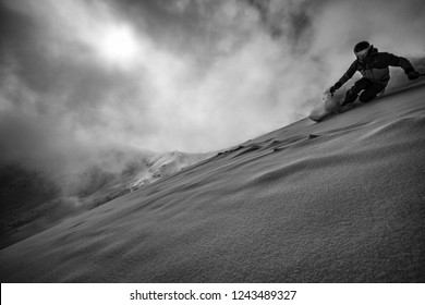 Expert skier in the backcountry B&W