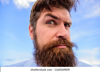 Expert tips for growing and maintaining moustache. Man bearded hipster with mustache sky background. Ultimate beard and moustache grooming guide. Hipster handsome bearded attractive guy close up.