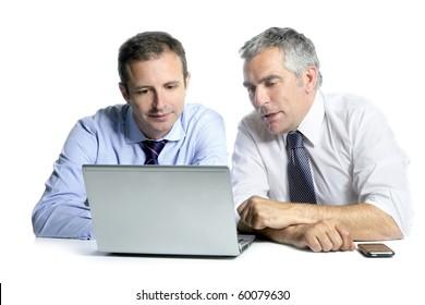 expertise businessman team working laptop computer white desk