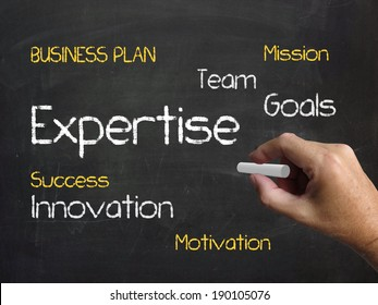 Expertise on Chalkboard Indicating Expert Skills Proficiency and Capability