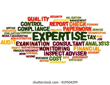 Expertise, word cloud concept on white background.