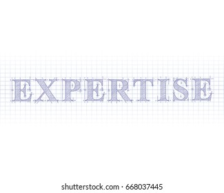 Expertise word in technical drawing on graph paper