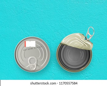 expiry date printed on bottom of aluminum can with blank price tag and canned food open and empty on pastel blue concrete kitchen table, information of product for consumer, flat lay close up top view