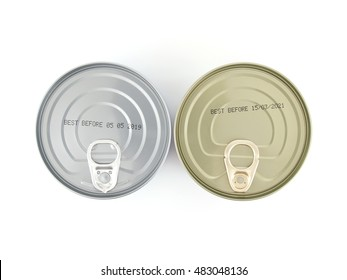expiry date printed on the bottom of aluminum cans isolated on white background, Information of product for consumer, top view