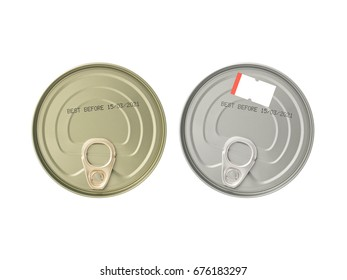 expiry date printed on lid of aluminum cans (canned food or tinned fish) with blank paper price tag isolated on white background, information of product for consumer, flat lay close up top view