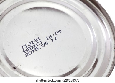 Expiry date printed on silver tin can