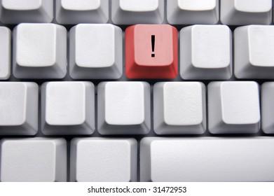 explanation mark on blank keyboard