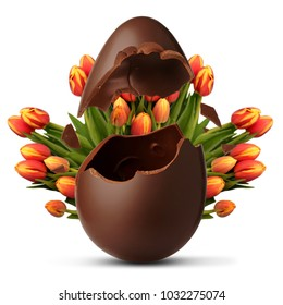 Exploded Easter egg and tulip flowers background