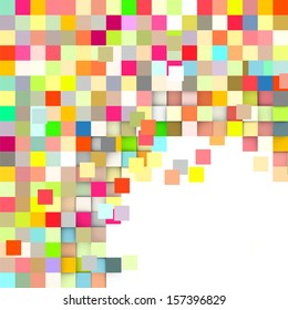 exploded mosaic backdrop in rainbow color on white