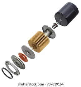 Exploded view of car oil filter isolated on white background - 3D illustration