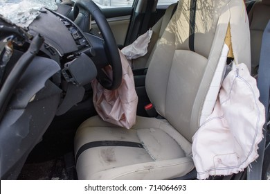 Exploding Airbag in a car crash. interior detail