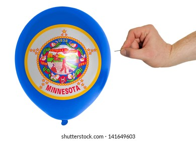 exploding balloon colored in flag of us state of minnesota