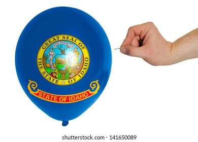 exploding balloon colored in flag of us state of idaho