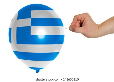 exploding balloon colored in national flag of greece