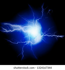 Exploding bolts of lightning energy blue
