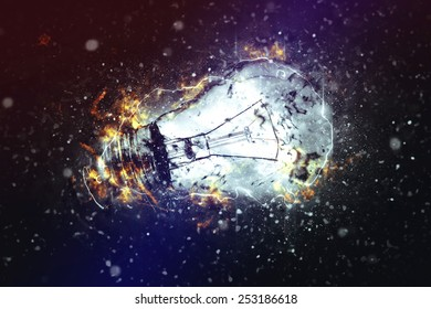 Exploding Light Bulb as Conceptual image for New Ideas and Brainstorming.