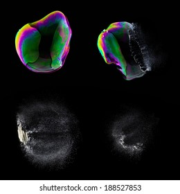 Exploding Soap Bubble set collage in colorful colors on black background