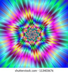 Exploding Star/Digital abstract image with a colorful explosion star design in lilac, blue, pink, yellow, and red.