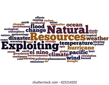 Exploiting Natural Resources, word cloud concept on white background.