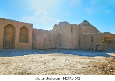 Explore ancient Kashan landmarks, walking around the ruins of adobe wall of Ghal'eh Jalali - the fortress, extant in old town, Iran