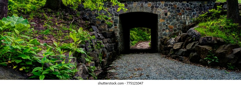 Explore An Old Stone Tunnel Vista In Old Montreal Quebec Canada