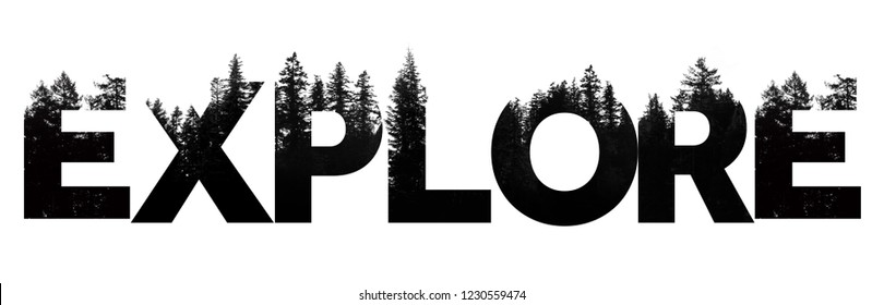 Explore word made from outdoor wilderness treetop lettering