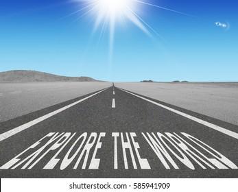 Explore the World adventure concept on road into the future