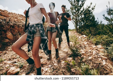 Explorer friends walking down a rocky path in a forest. Group of friends on a vacation exploring the country side.