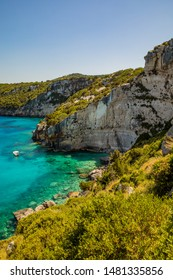 Exploring the beautiful coastline of Zakynthos (Zante, Greece) by boat