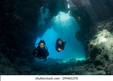 Exploring the caves at St John's, Red Sea, Egypt