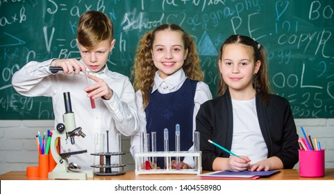 Exploring is so exciting. Chemical reaction occurs when substance change into new substances. Pupils study chemistry in school. Chemical substance dissolves in another. Kids enjoy chemical experiment.