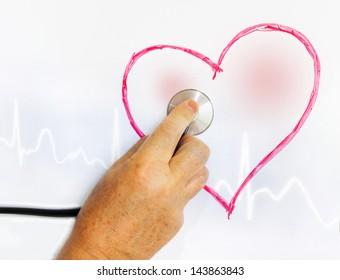 Exploring heart painted on a blackboard