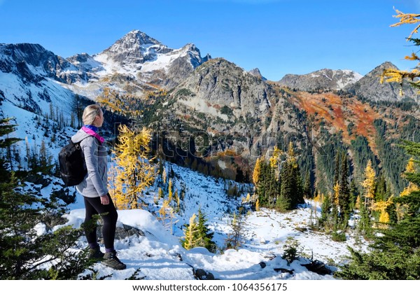 Exploring Pacific Northwest. Woman on vacation hiking in Cascade Mountains in autumn.  Mount Rainier National Park. Seattle. Winthrop. WA. United States.