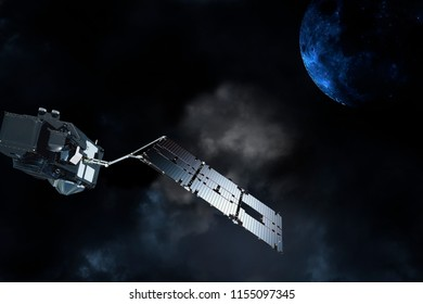 exploring satellite in outer space in orbit around unknown planet