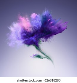 Explosion of blue powder in flower shape. Freeze motion of color powder exploding. Illustration