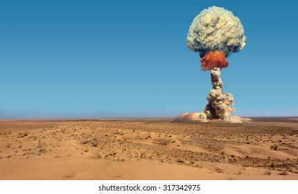 Explosion of bomb atomic.
