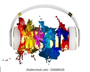 explosion of color paint from the headphones. blasted word music. each color is assigned path. the object retained its mask. edit in the fun